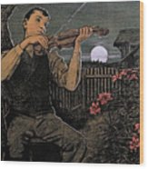 Violin Player To The Moon Wood Print