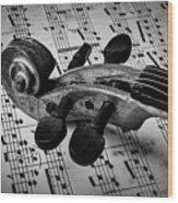 Violin Scroll On Sheet Music Wood Print
