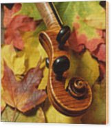 Violin Scroll With Fall Maple Leaves Wood Print