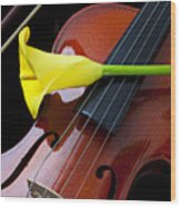 Violin With Yellow Calla Lily Wood Print