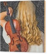 Violin Woman - Id 16218-130709-0128 Wood Print
