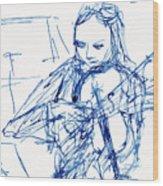 Violinist In Blue II Wood Print