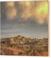 Virga Over The Badlands Wood Print