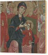 Virgin And Child Enthroned With Saints Leonard And Peter And Scenes From The Life Of Saint Peter Wood Print