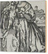 Virgin And Child With A Parrot Wood Print