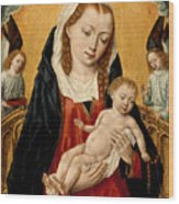 Virgin And Child With Two Angels Wood Print