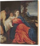 Virgin And Infant With Saint John The Baptist And Donor Wood Print