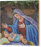 Virgin Mary And Baby Jesus Wood Print