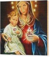 Virgin Mary And Baby Jesus Sacred Heart Wood Print