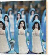 Virgin Mary Figurines Wood Print