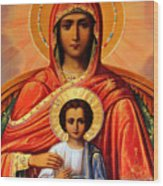 Virgin Mary Old Painting Wood Print