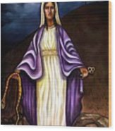 Virgin Mary- The Protector Wood Print