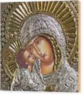 Virgin Mary With Child Jesus Greek Icon Wood Print by Jake Hartz