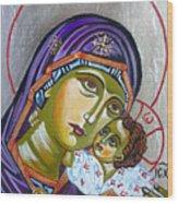 Virgin Of Tenderness Eleusa Wood Print