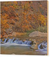 Virgin River In Autumn Wood Print