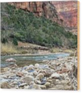 Virgin River In Zion Canyon Wood Print