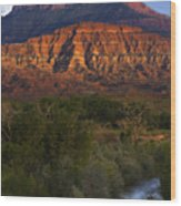 Virgin River Near Zion National Park Wood Print by Utah Images