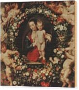 Virgin With A Garland Of Flowers Wood Print