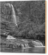 Virgina Falls In The Pool - Black And White Wood Print