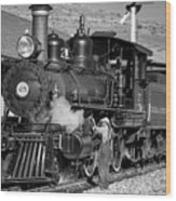 Virginia And Truckee Engine 25 Monochrome Wood Print