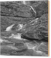 Virginia Falls Glacier Cascades - Black And White Wood Print