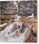 Virginia Falls - Glacier National Park Wood Print