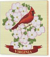 Virginia State Bird Cardinal And Flowering Dogwood Wood Print