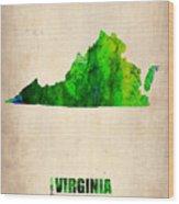Virginia Watercolor Map Wood Print