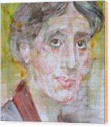 Virginia Woolf - Watercolor Portrait.7 Wood Print