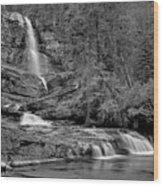 Virgnia Falls Pool - Black And White Wood Print