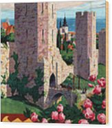 Visby Vintage Travel Poster Restored Wood Print