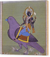 Vishnu On A Bird Wood Print