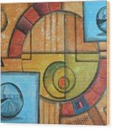 Visions Of Red Wheel Wood Print