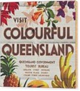 Visit Colorful Queensland - Vintage Poster Folded Wood Print