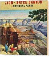 Visit Grand Canyon - Vintgelized Wood Print