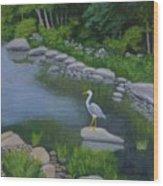 Visiting Heron Wood Print