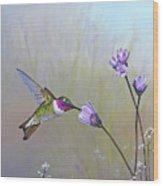 Visiting The Purple Garden Wood Print