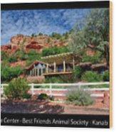 Visitor Center Best Friends Animal Sanctuary Angel Canyon Knob Utah 02 Text Black Wood Print