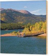 Visitors At Pikes Peak And Crystal Reservoir Wood Print