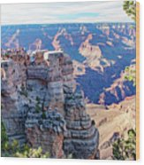 Visitors Dwarfed By Grand Canyon Vista Wood Print