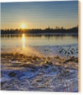 Vistula River Sunset 3 Wood Print