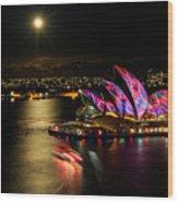 Vivid Sydney Under Full Moon Wood Print