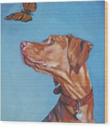 Vizsla And The Butterfly Wood Print
