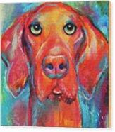 Vizsla Dog Portrait Wood Print