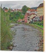 Vltava River As It Runs Slowly Through Cesky Krumlov In The Czech Republic Wood Print