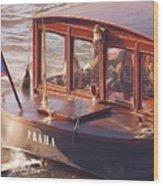 Vltava River Boat Wood Print by Shawn Wallwork