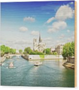 Notre Dame And River Seine Wood Print