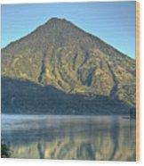 Volcano And Reflection Lake Atitlan Guatemala 3 Wood Print