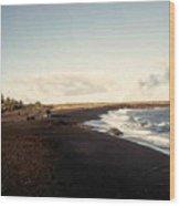 Volcano Black Sand Beach Wood Print
