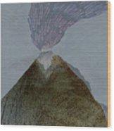 Volcano Dawn - Original Acrylic Painting Wood Print